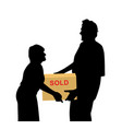 happy buyers carrying something packed in a box vector image