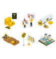isometric set of radioactive waste elements vector image vector image