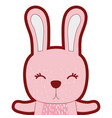 line color adorable rabbit wild animal of the vector image