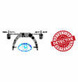 mosaic video spy drone with grunge detective seal vector image vector image