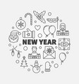 new year line greeting card vector image vector image