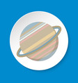 planet saturn icon in flat style on round button vector image