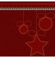 Red Christmas denim background with embroidered vector image