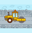 road roller construction machinery steamroller vector image