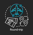round-trip chalk icon return tickettravelling vector image vector image