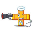 sailor with binocular retro plus sign addition vector image vector image