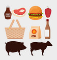 set meat with hamburger and pork with beef vector image