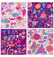 Set of four colorful floral patternCopy each vector image