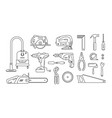 set repair building tools icons outline vector image