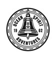 ship bell round nautical vintage badge vector image vector image