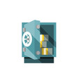 small safe opened with money inside vector image vector image