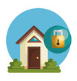smart home with padlock vector image vector image