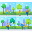 smiling pensioners walking in urban park vector image vector image
