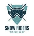 snow riders winter snowboard camp logo retro ski vector image vector image
