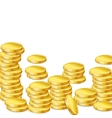 Stacks of gold coins on white background vector image