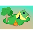 Summer hiking - with tent tree and vector image vector image