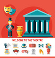 theatre flat colored composition vector image vector image