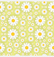white chamomile flowers on yellow background vector image vector image