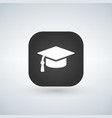 white graduation cap icon on black app web button vector image