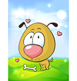 cute dog in love with bone on green grass and blue vector image