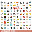 100 tension icons set flat style