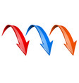 3d down colored arrows set - red blue and orange vector image vector image