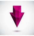 3d magenta down arrow vector image vector image