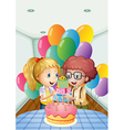 A birthday party inside the house vector image vector image