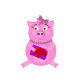 a pig with present new year icons in color vector image vector image
