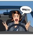 Angry Woman Driver Aggressive Woman Pop Art vector image vector image