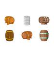 barrel icon set cartoon style vector image vector image