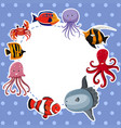 border template with sea animals on blue vector image