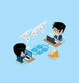 businessmen connecting online by jigsaw puzzle vector image vector image