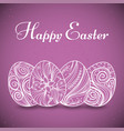 card with easter eggs with line art on purple vector image