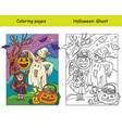 coloring with colored example halloween ghost and vector image vector image