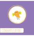 Congratulations card with cute orange bird vector image vector image