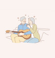 couple love play romance music recreation vector image vector image