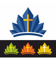 crown and cross vector image vector image