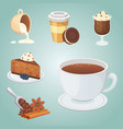 cup of coffee cappuccino latte and chocolate vector image vector image