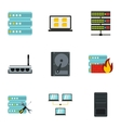 Data cloud icons set flat style vector image vector image