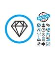 Diamond Flat Icon with Bonus vector image vector image
