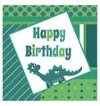 Dinosaur birthday card vector image vector image