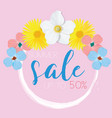 flower banner with text summer sale on pink vector image vector image