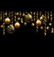glass christmas evening balls on a black vector image vector image