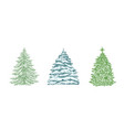 hand drawn christmas tree color vector image