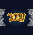 happy new year 2021 golden card with pine vector image