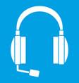 headphones icon white vector image vector image