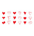 heart shapes for love red icons for valentine day vector image vector image
