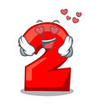 in love cartoon cake birthday candle number two vector image vector image