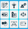 job icons set with contract financing vector image vector image